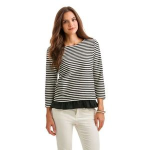Vineyard Vines Black and White Striped Ruffle Top